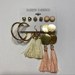 NWOT 6 Pair Pink Gold Hoop Tassel Heart Earrings